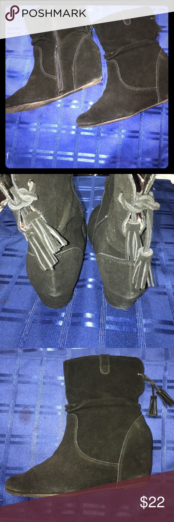 """Black suede wedge boots EUC black suede wedge boots. Zipper closure. Tassel detail. Goes apps 3"""" above the ankle. Size is 10 White Mountaineering Shoes Ankle Boots & Booties"""