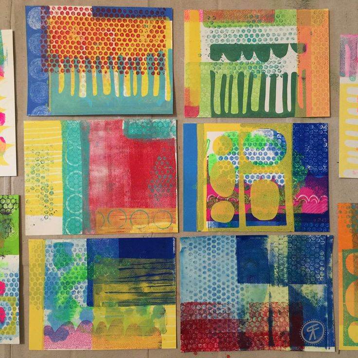 Rachel Fontenot - Gelli Plate Prints- acrylic - paint - printmaking