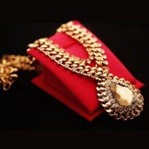 Vintage Retro Golden Color Drop Chocker Bib Statement Necklace