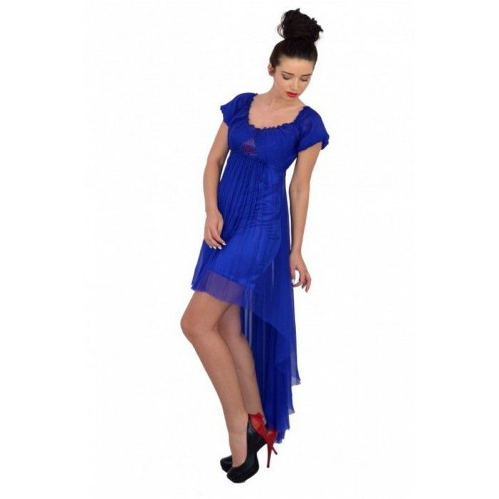 Rochie albastru inchis cu volane din matase naturala  http://iuniq.ro/rochie-albastru-inchis-cu-volane-din-matase-naturala