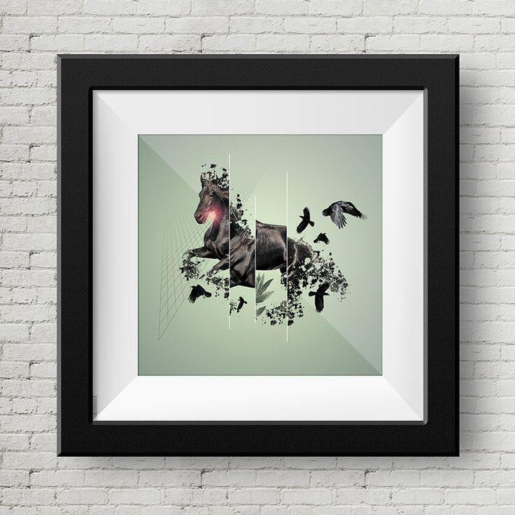 Ilustracion Digital Caballo y Cuervos, Cuadro, Decoracion, Lamina, Caballo, Impresiones de GraphicHomeDesign en Etsy https://www.etsy.com/es/listing/239900113/ilustracion-digital-caballo-y-cuervos