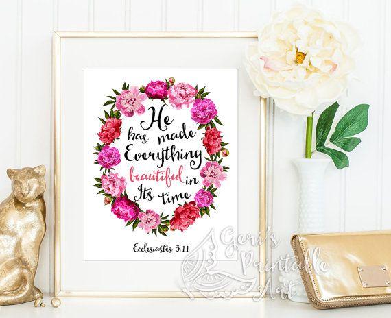 Scripture Wall Art Home Decor ~ Everything beautiful bible verse scripture prints