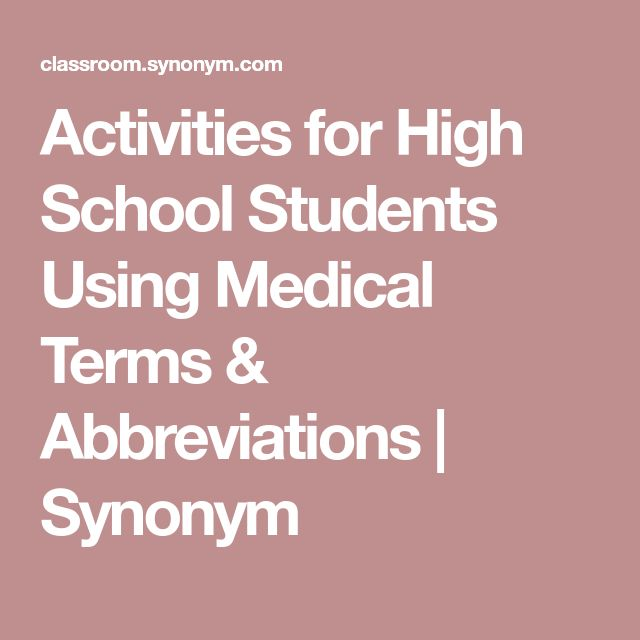 Activities for High School Students Using Medical Terms & Abbreviations | Synonym