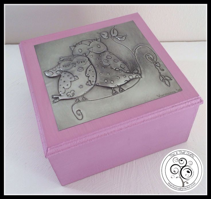 Pewter Owls on Pink Wooden Box