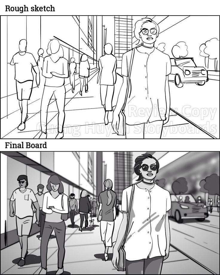She Strolls Along A Downtown City Street   Trees, Cars, People Walking To  Work, Lady Walking Her Dog, Etc. _ Storyboards By Storyboard Artist Cuong  Huynh.