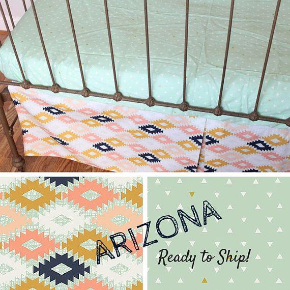 Crib Bedding- Crib Sheet and Crib Skirt -Baby Bedding-  READY TO SHIP- crib skirt and sheet in Southwestern Fabric, Arizona, tribal