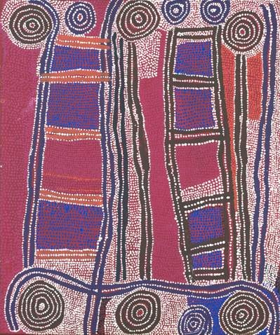 Paddy Jupurrula Nelson / Wati-jarra, the Two Men Dreaming, about two ancestral beings Jakamarra and Jupurrula who travelled vast distances shaping the landscape.