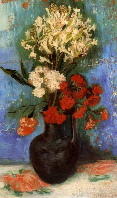 Vase with Carnations and other Flowers. Paris, Summer 1886, Size 61 x 38cm