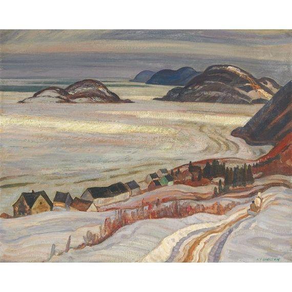 A.Y. Jackson - Sun Gleams Near Bic 21 x 25.5 Oil on canvas