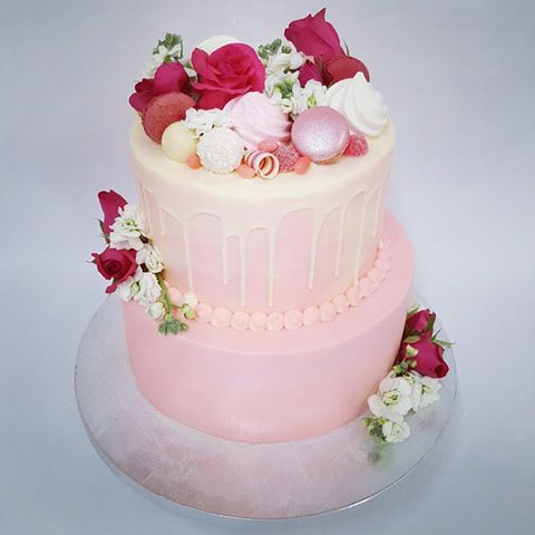 Two Tier Pink with White Chocolate Drip and Overload Toppings