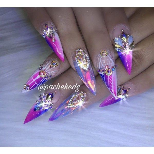 Long Neon Matte Pink Purple 3d Holographic Chrome Stiletto Nails