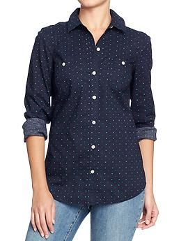 Button-down, so probably functional as an open topper at best, but I like the navy ground for the teal and sea-green polka dots.