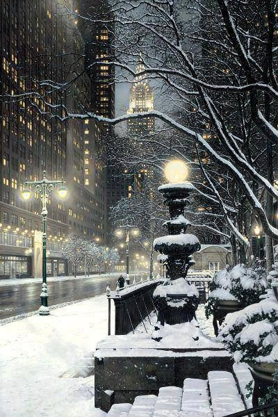 This is NY... but I really wanna go to Chicago in the snow.