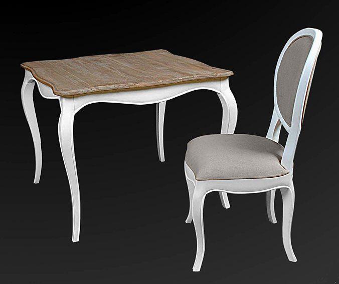 mesa de comedor cuadrada vintage frances material madera tropical mueble realizado en parismesa