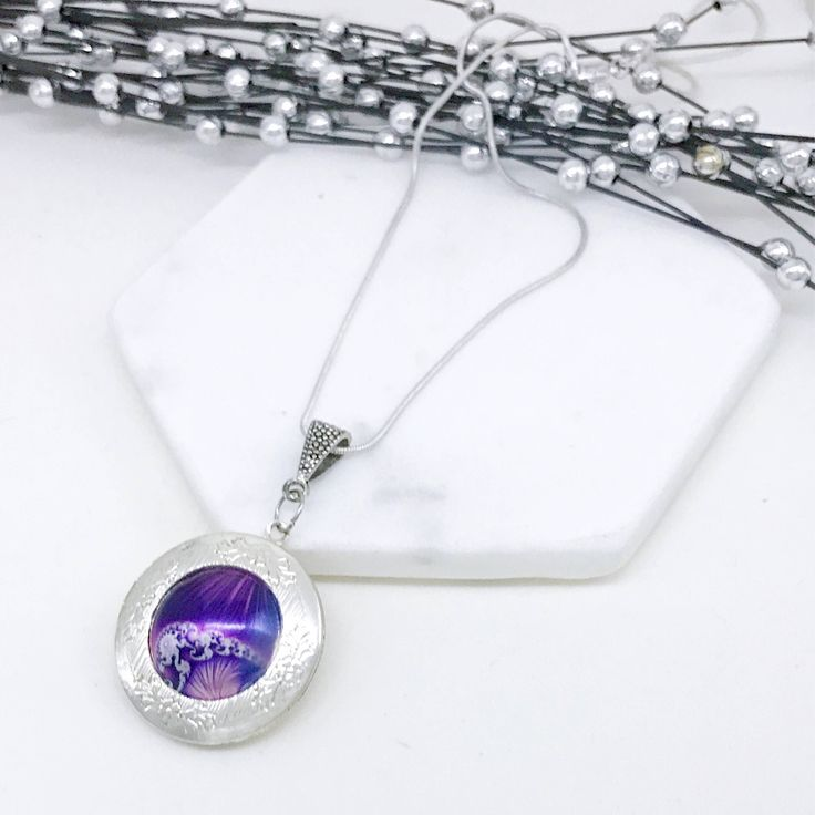 Silver Locket. Purple Silver locket Gift for her Valentine Memories by VividSister on Etsy https://www.etsy.com/au/listing/541536941/silver-locket-purple-silver-locket-gift