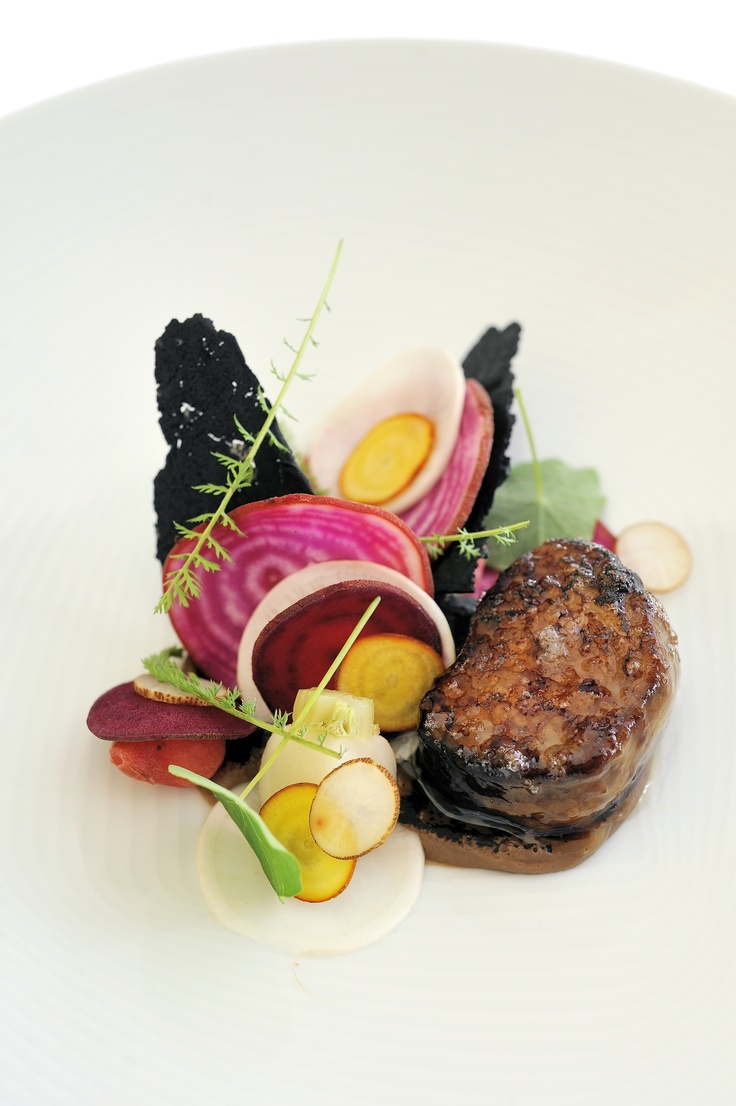 Eel and bone marrow, eggplant, pickled vegetables