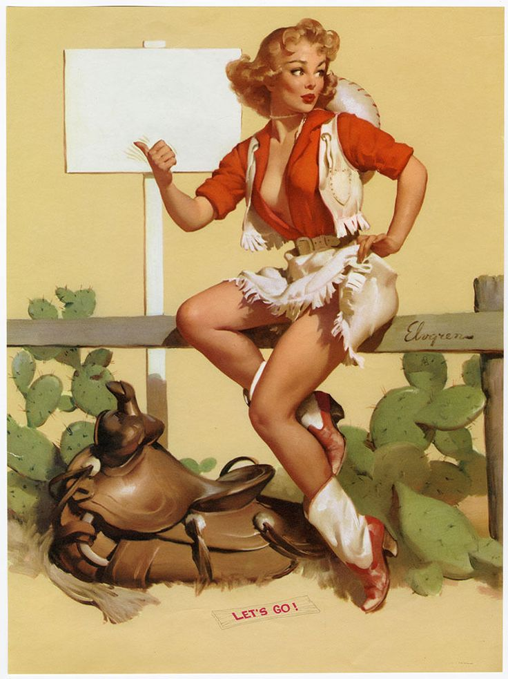Rare 1957 Gil Elvgren Brown & Bigelow Pin-Up Print Buxom Cowgirl In Let's Go! NR