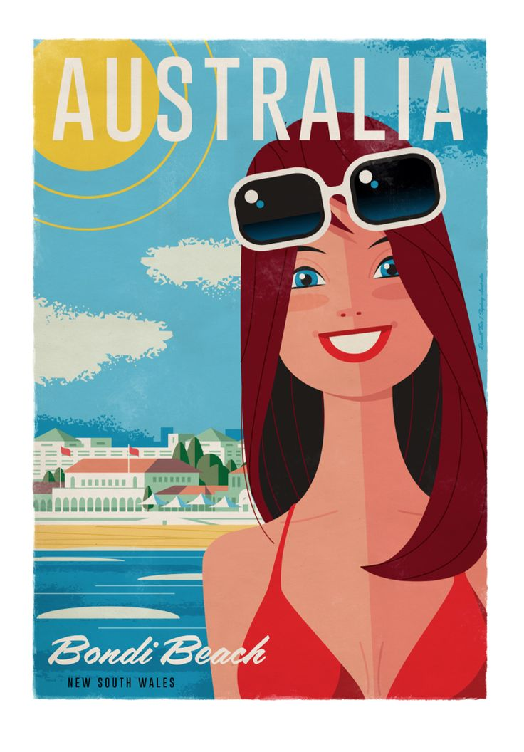Bondi Beach Travel poster 70 x 100cm available from: info@russelltate.com #russelltate