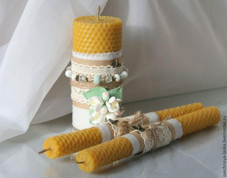 """Купить Свечи свадебные """"Домашний очаг"""" с браслетом и заколочкой - Свечи, набор свечей, восковые свечи"""