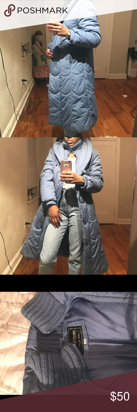 Women's vintage fashion puffer knee length coat Baby blue vintage ladies fashion knee length puffer coat. The coat zips and fastens and has a very distinct cloth turtle neck collar. Jackets & Coats Puffers