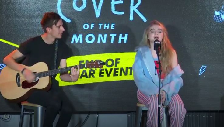 2017 Sabrina Carpenter performs on MTV Cover of the Month - End of Year Event (Facebook Live) @ London, England. Acoustic session with Caleb on guitar (screenshot)