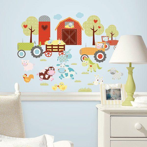 Lovely Wandtattoo Pferd u Bauerntiere als Wanddeko Wandaufklebe Babyzimmer Wandsticker