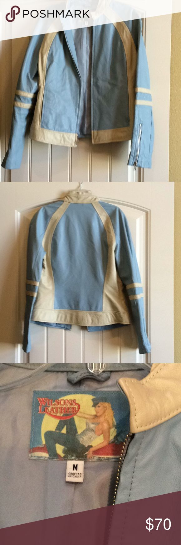 Wilson's Leather Varsity Jacket Baby blue/cream leather jacket with zips in sleeve.So cute with jeans this is reposh I am size small Wilsons Leather Other