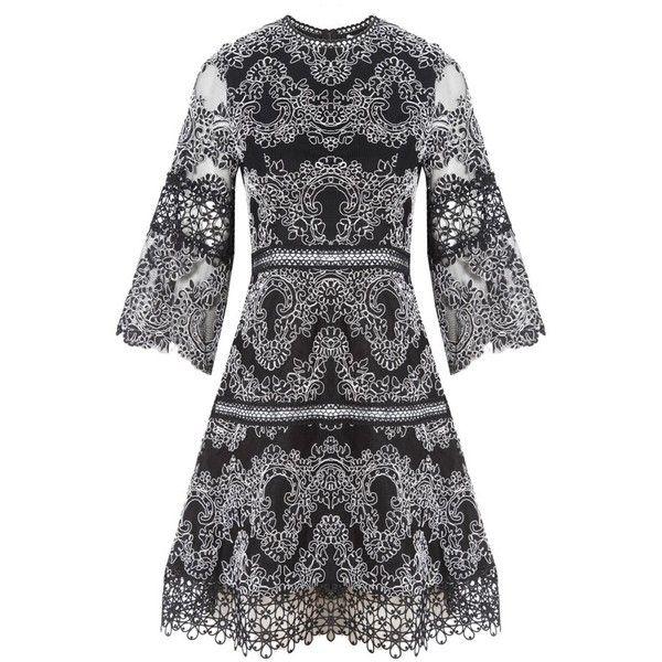 Alexis Karina Embroidered Dress (£555) ❤ liked on Polyvore featuring dresses, alexis dresses, embroidery dress, broderie dress, embroidered dress and embroidered dresses