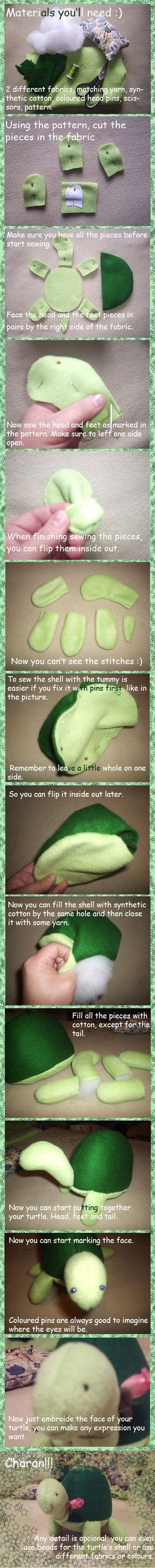 Turtle Tutorial by Piripanda on deviantART. Pattern available on page http://piripanda.deviantart.com/art/Turtle-Tutorial-43214050?q=boost%3Apopular%20in%3Aresources%2Ftutorials%2Fartisancrafts&qo=116