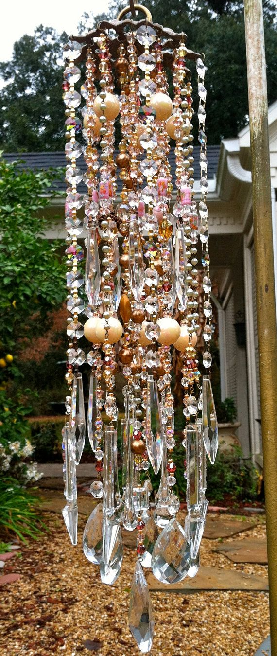Victorian Romance & Lace Vintage Crystal WindChime with its wonderful pastel sherbert shades amidst a sea of crystal baubles!!! on Etsy, $279.00