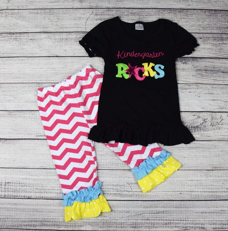 Kindergarten Rocks 2Pc Chevron Outfit (3T)