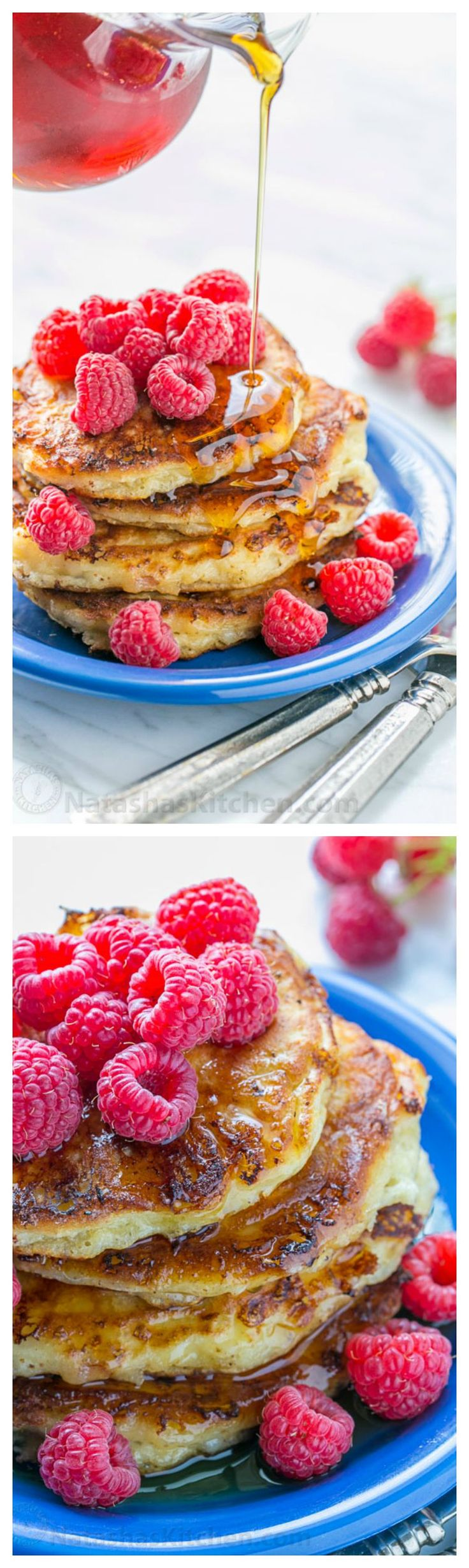 Fluffy Cottage Cheese Pancakes - simple ingredients, easy to make and they reheat really well! Try these cottage cheese pancakes! | natashaskitchen.com