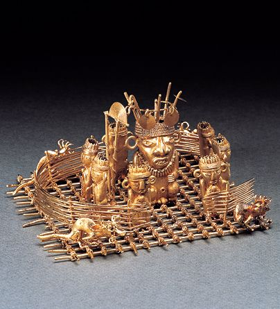 Votive offering of gold raft Colombia(Muisca)  Gold 7~16th century  Height 7cm