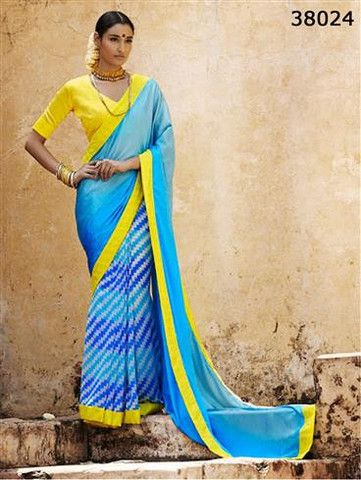 Silk Route 38024 SkyBlue and Yellow Satin Georgette Saree