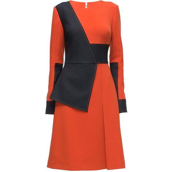 LATTORI Ornate, Bright Long Sleeve, Midi Dress ($299) ❤ liked on Polyvore featuring dresses, sleeve dress, longsleeve dress, mid calf dresses, bright red dress and asymmetrical dress