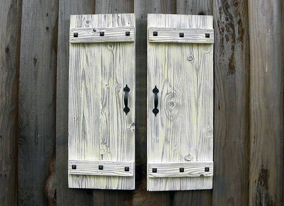 This Set Of Two Beautiful Rustic Shutters In Antique White Finish