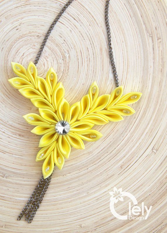 Yellow fabric necklace with rhinestone, kanzashi necklace, statement necklace