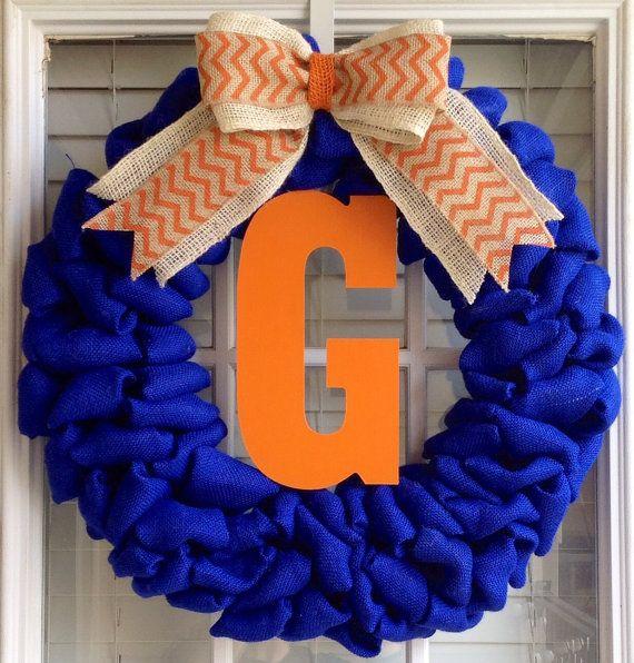 Burlap Wreath -Monogram Wreath - Monogram Gifts - Summer Wreaths for Door - Door Wreath - Front Door Wreath - Auburn Tigers - Florida Gators on Etsy, $70.00
