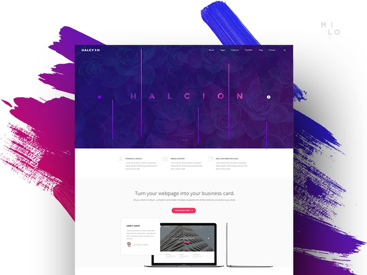 Halcyon - Modern Website Template by Milo Themes