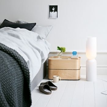 Funnshus loves this new Iittala product: The Vakka storage box is made out of compressed plywood. The designers, Klaus and Elina Aalto, were inspired by the plywood suitcases particularly popular in Baltic countries. They wanted to create an aesthetically pleasing container that does not look too much like a container and lends itself for a variety of uses. Vakka is stackable, and it can function for instance as a night table. Vakka boxes are made in Lahti, Finland.