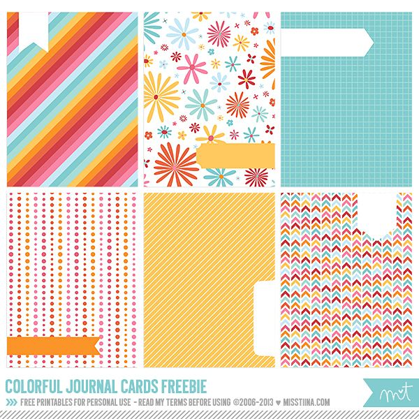 FREE Printables » Colorful Journal Cards | MissTiina.com {Blog}