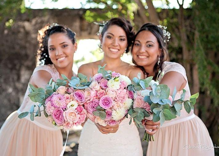 Bride and bridesmaids bouquets, by Un Mariage Parfait, Ile de La Réunion