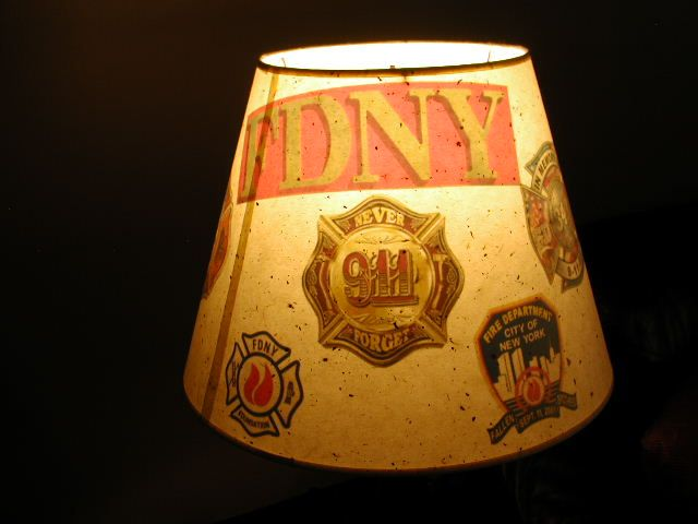 17 best firefighter lamp shades fdny images on pinterest custom lamp shade decorated with translucent emblems and decals looks great with the scba aloadofball Images