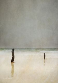 """Father and Son under a grey sky on the beach at Morar, near Arisaig, Scottish West Coast This print is called """"Elephant Beach"""" because there used to be a sign nearby that said """"Elephant Eggs For Sale!"""".  For more info please see about prints section"""