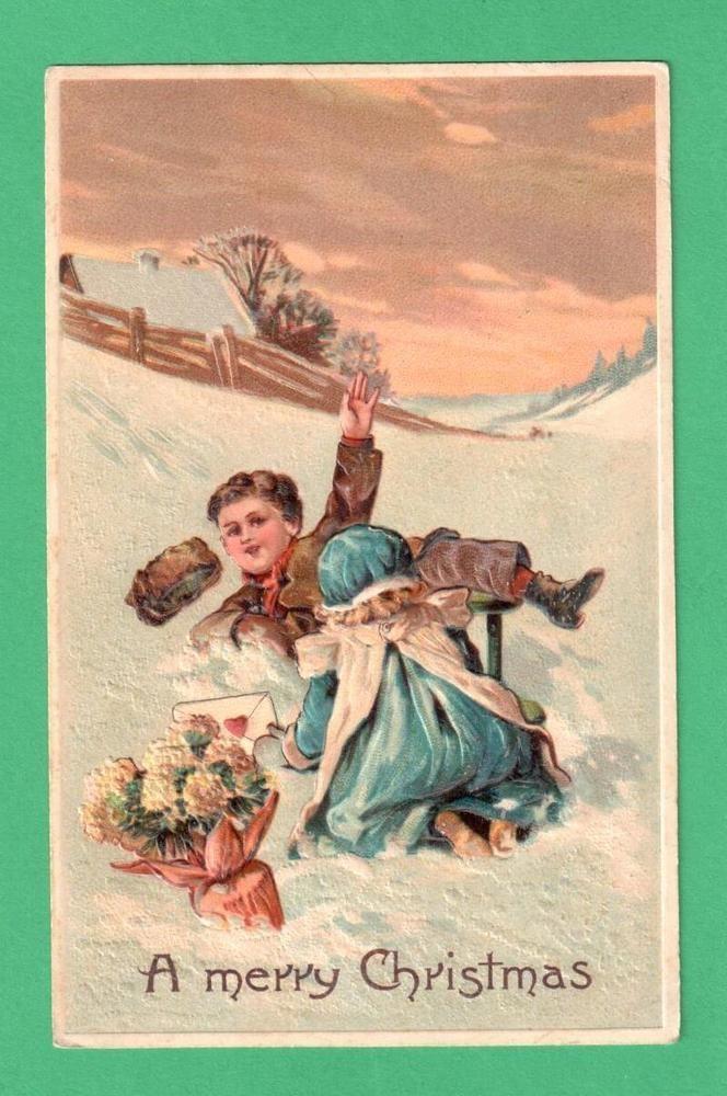 VINTAGE PFB CHRISTMAS POSTCARD CHILDREN TUMBLE SLED SNOW FLOWERS CARD SUNSET