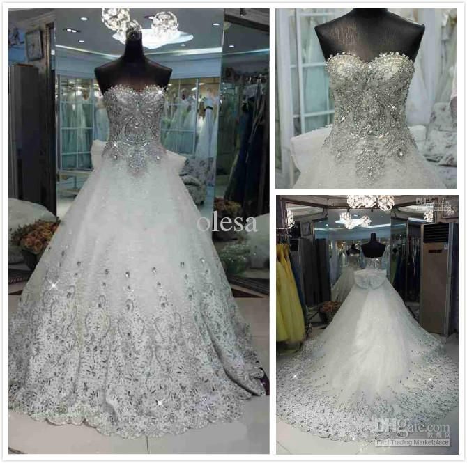 Wholesale Wedding Dresses - Buy 2013Cheap Exquisite Sweetheart Beads Appliques Organza A-line Cathedral Train Bling Wedding Dresses, $361.36...