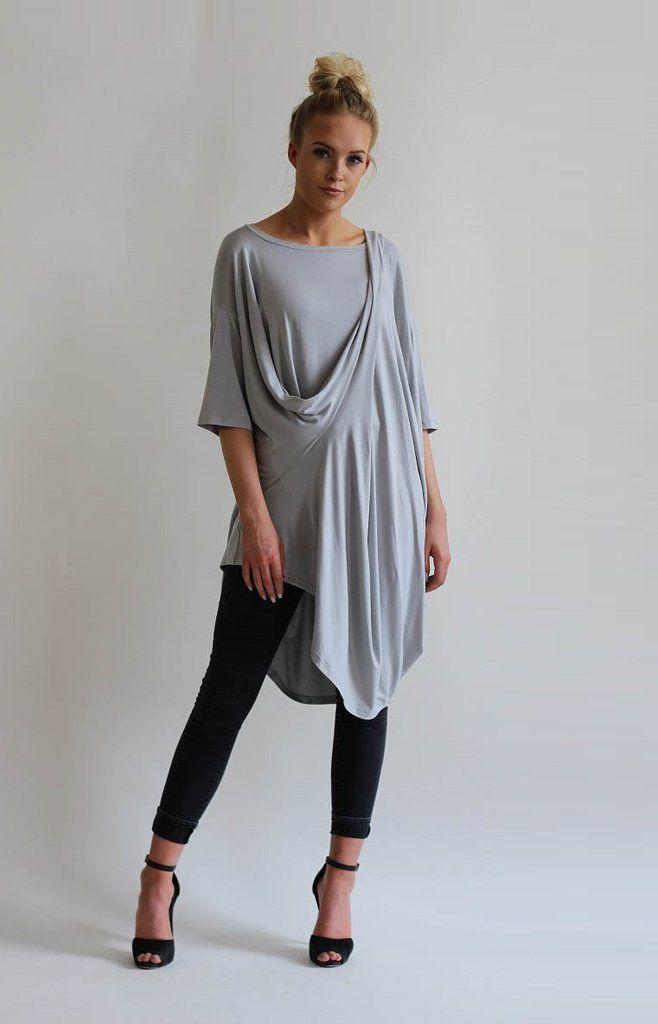 Roxie Grey Oversized Drape Asymmetric Tunic Top
