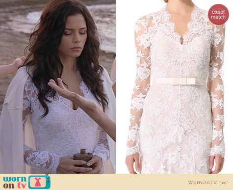 Freya's white long sleeve lace dress on Witches of East End. Outfit Details: http://wornontv.net/23571 #WitchesofEastEnd