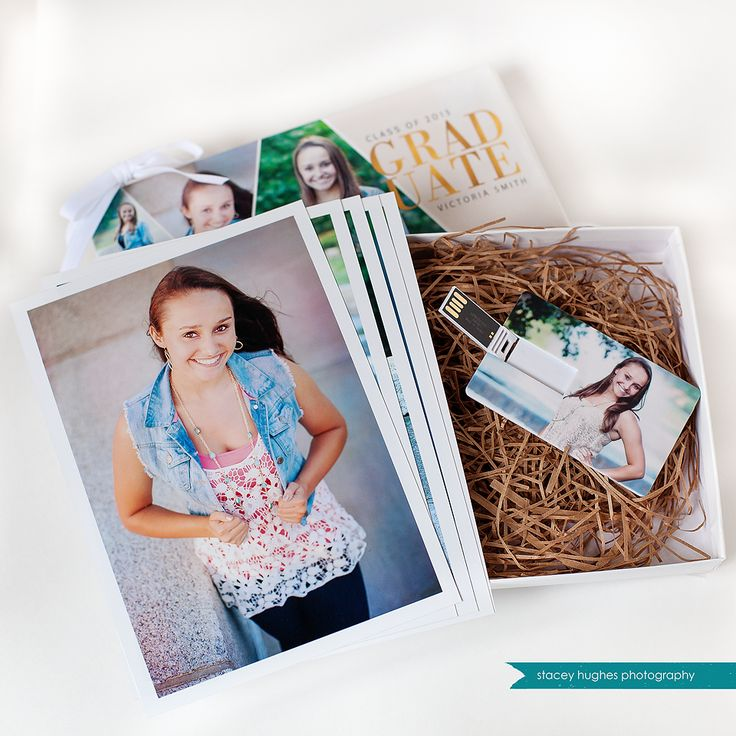 New senior bundle: custom presentation box, USB with digital images, and 5x7 prints.