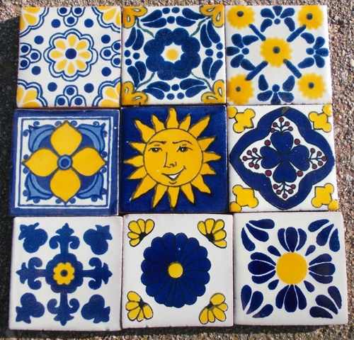 "18 Mexican Talavera Pottery 2"" Tile Hand Painted Hand Made Venice Italy CD   eBay"